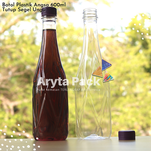 Botol plastik minuman 630ml angsa tutup segel ungu