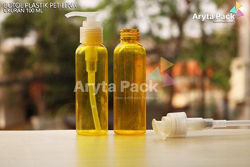 Botol plastik PET 100ml Lena kuning tutup pump natural