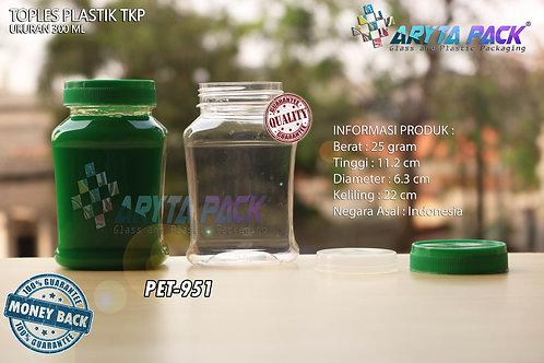 Toples plastik PET 300ml TKP-3 tutup hijau