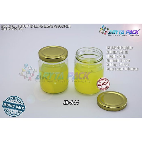 Jar kaca 250ml tutup kaleng emas second