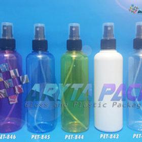 Botol plastik PET 250ml joni kuning tutup spray hitam