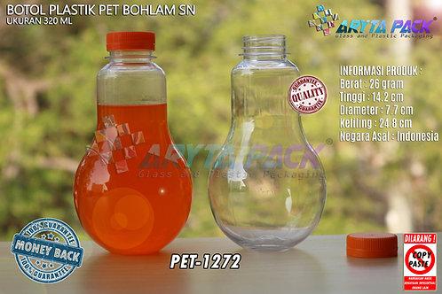 Botol plastik minuman bohlam 320ml tutup pendek orange segel