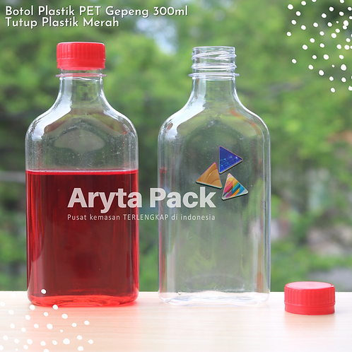 Botol plastik minuman gepeng 300ml tutup segel merah