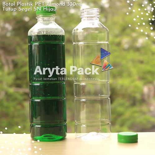 Botol plastik minuman 330ml almond tutup segel hijau