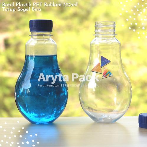 Botol plastik minuman bohlam 320ml tutup tinggi biru segel