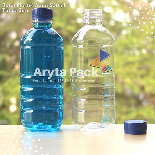 Botol plastik pet 500ml aqua tutup segel biru