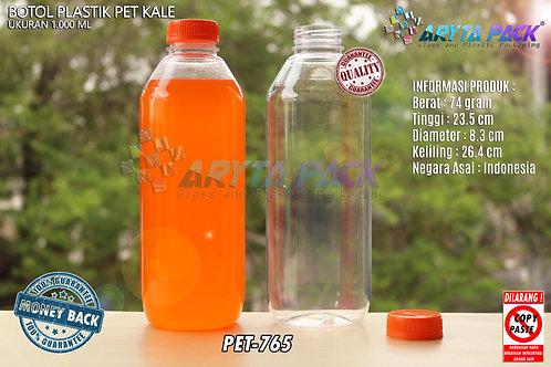 Botol plastik minuman 1liter jus kale tutup orange segel