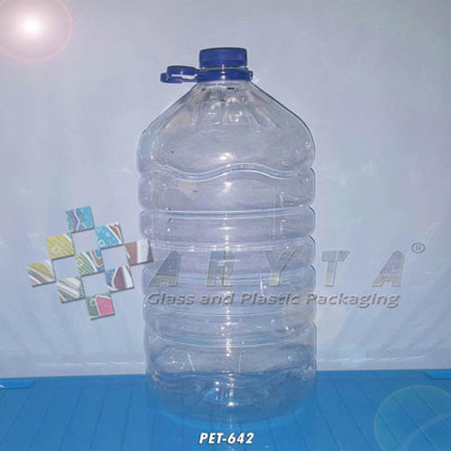 Galon plastik PET 10 liter natural tutup ulir + tangkai