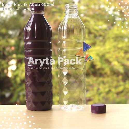 Botol plastik pet 600ml aqua tutup segel ungu