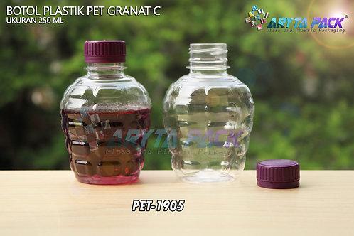 Botol plastik pet 250ml granat c tutup segel ungu