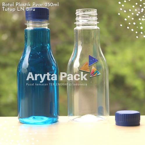 Botol plastik minuman 250ml pear tutup segel biru
