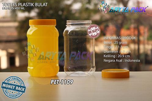 Toples plastik PET 450ml bulat tutup kuning