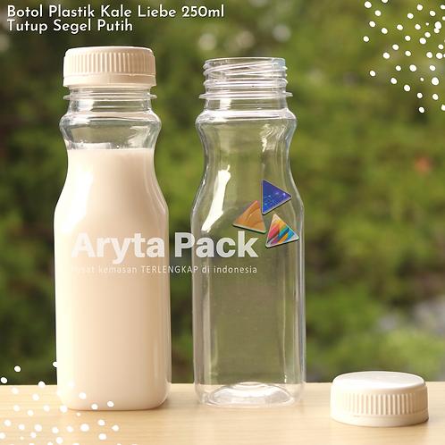 Botol plastik minuman 250ml jus kale liebe tutup segel putih