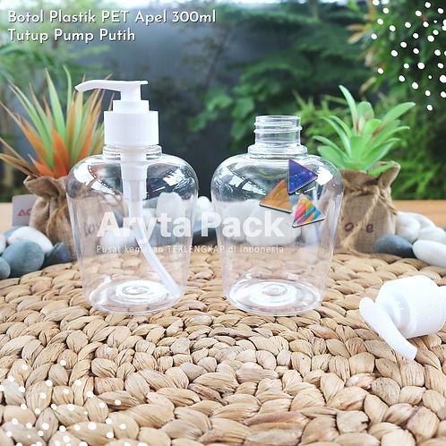 Botol plastik PET Handsoap apel 300ml tutup pump putih susu