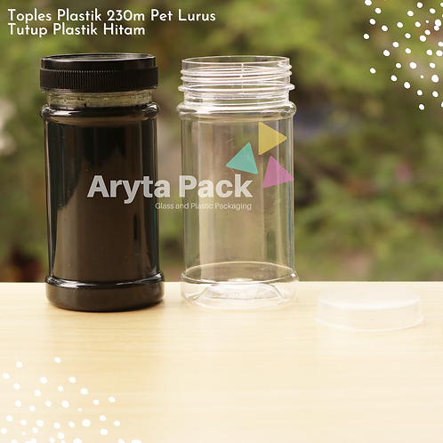Toples plastik PET 230ml lurus tutup hitam