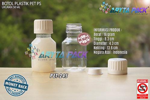 Botol plastik PET 50ml PS tutup segel