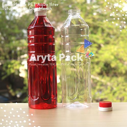 Botol plastik pet 1liter aqua tutup dop segel merah