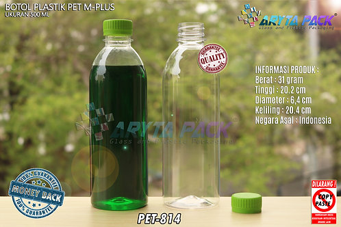Botol plastik minuman 500ml M-plus tutup hijau segel