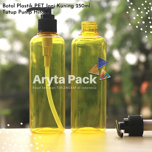 Botol plastik PET 250ml Joni kuning tutup pump hitam