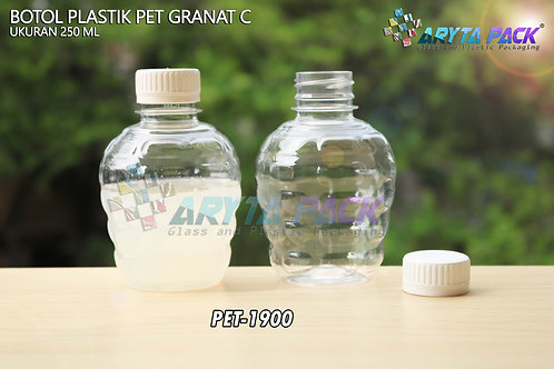 Botol plastik pet 250ml granat c tutup segel putih