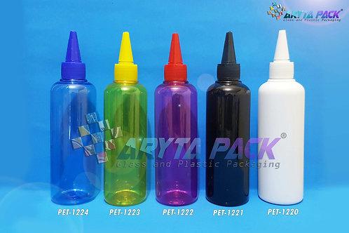 Botol plastik PET 250ml Joni pink tutup tinta merah