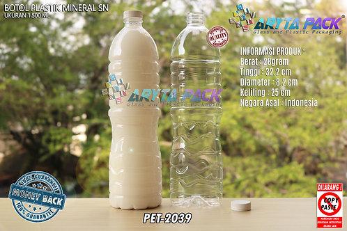 Botol plastik pet 1,5liter aqua tutup segel pendek putih