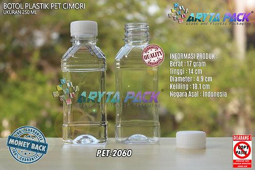 Botol plastik minuman 250ml cimory pendek tutup segel natural