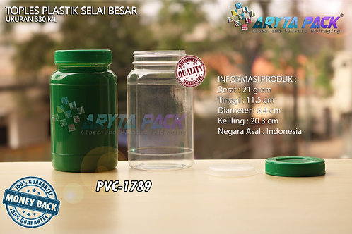 Toples plastik PVC 330ml selai besar bulat tutup hijau