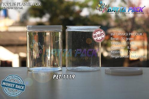 Toples plastik PET 500ml fox tutup natural