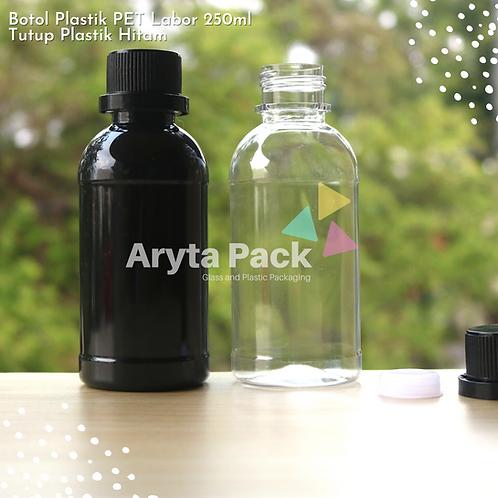 Botol plastik PET 250ml labor tutup segel hitam