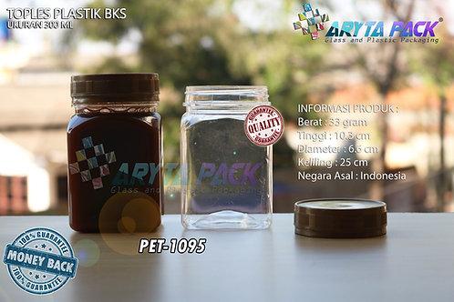 Toples plastik PET 300ml BKS tutup gold