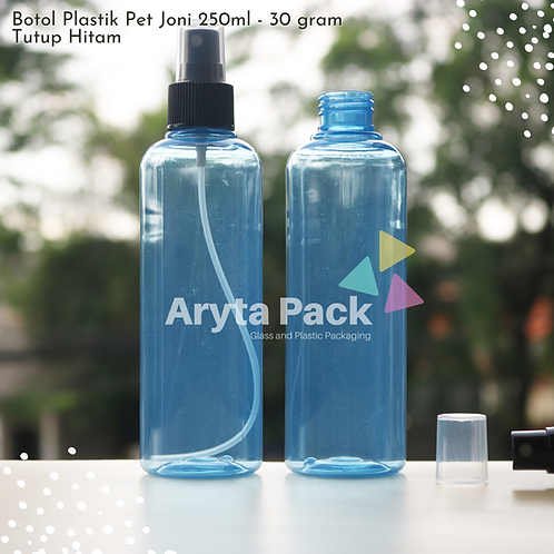Botol plastik PET 250ml joni biru tutup spray hitam