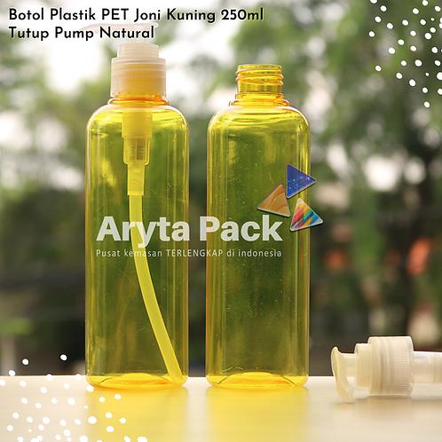 Botol plastik PET 250ml Joni kuning tutup pump natural