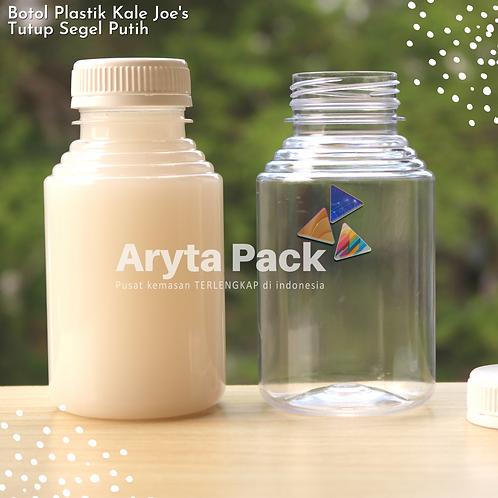 Botol plastik minuman 250ml jus kale joe's tutup segel putih
