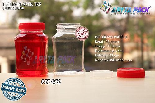 Toples plastik PET 300ml TKP-3 tutup merah