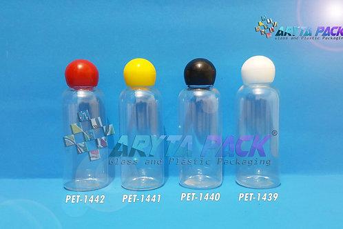 Botol plastik PET 60ml Lena natural tutup globe putih
