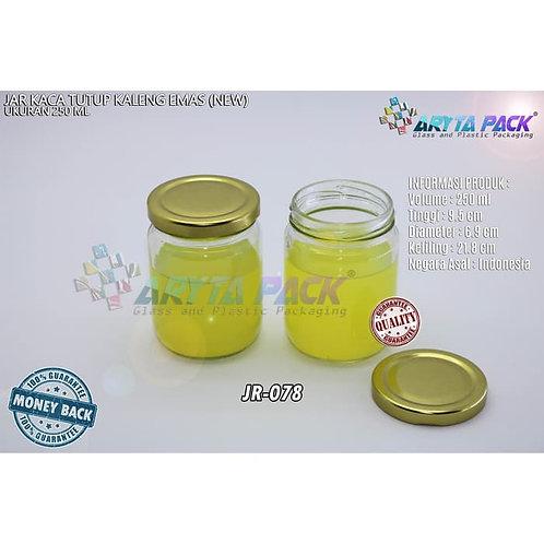Jar kaca 250ml tutup kaleng emas new