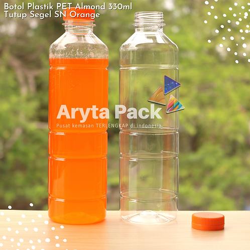 Botol plastik minuman 330ml almond tutup segel orange