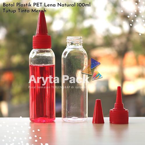 Botol plastik PET 100ml Lena tutup tinta merah