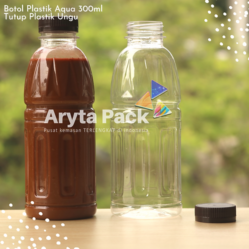 Botol plastik pet 300ml aqua aneka tutup segel coklat