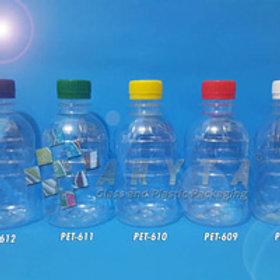 Botol plastik PET 250ml Granat A tutup segel putih