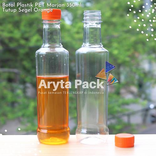 Botol plastik minuman 350ml marjan kecil tutup orange