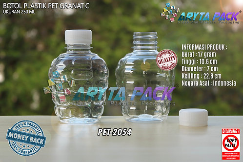 Botol plastik pet 250ml granat c tutup segel natural