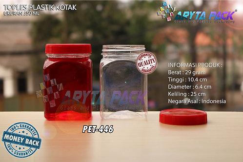 Toples plastik PET 350ml kotak tutup merah