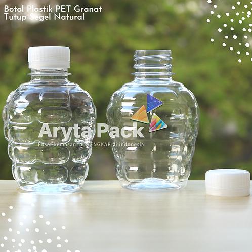Botol plastik pet 250ml granat c tutup segel natural