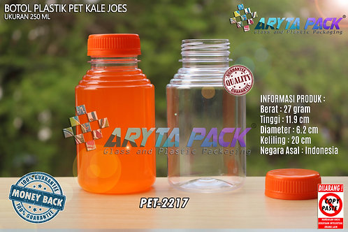 Botol plastik minuman 250ml jus kale joe's tutup segel orange
