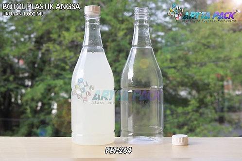 Botol plastik minuman 1 liter angsa tutup segel putih
