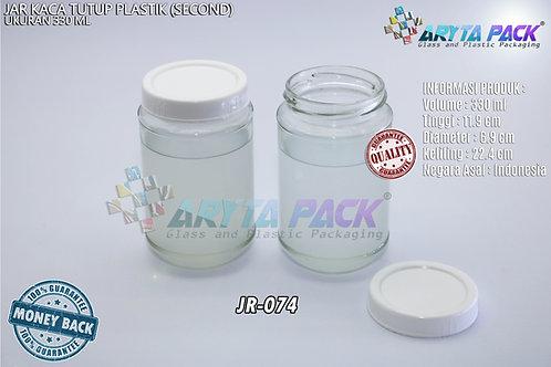 Jar kaca 330ml tutup plastik second