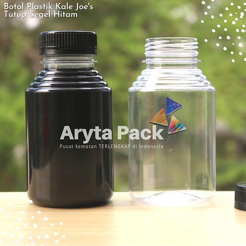 Botol plastik minuman 250ml jus kale joe's tutup segel hitam