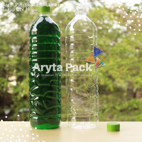 Botol plastik pet 1,5liter aqua tutup segel hijau